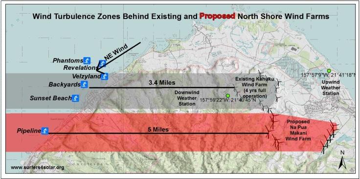 Wind turbulence zone distance map